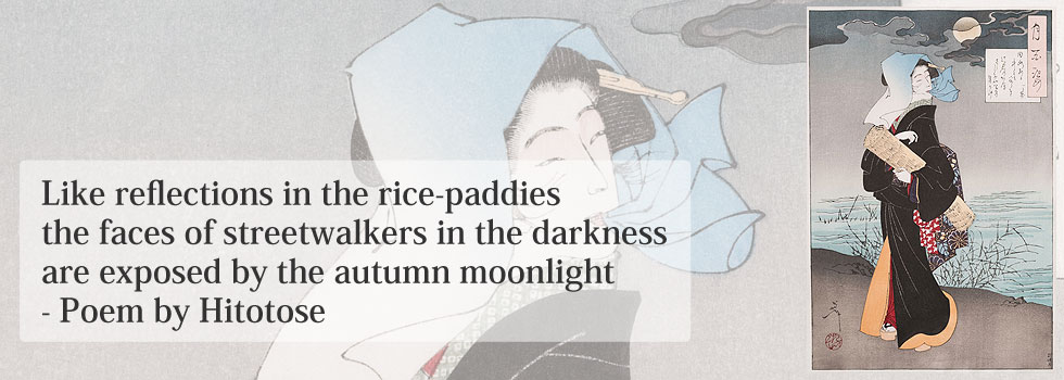 Like reflections in the rice-paddies the faces of streetwalkers in the darkness are exposed by the autumn moonlight